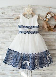 [R$ 231.35] Vestidos princesa/ Formato A Coquetel Vestidos de Menina das Flores - Cetim/Tule/Renda Decote redondo com Renda (010117684)