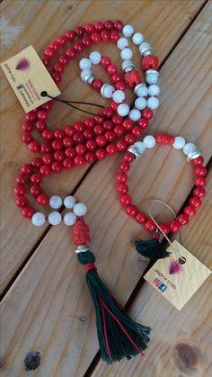 Coral&Moonstone 108 bead mala necklace and coral&moonstone bracelet by Sevtap Güzeltürk