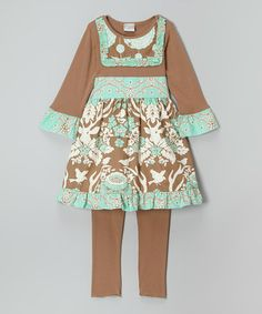 Look at this #zulilyfind! Mint & Brown Deer Ruffle Tunic Set - Infant, Toddler & Girls #zulilyfinds