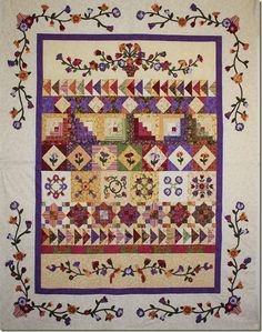"""I like this row quilt but would separate the rows with more """"space"""" - or very thin borders. Bountiful Bouquet BOM A nice row by row for fall Strip Quilts, Scrappy Quilts, Quilt Blocks, Bargello Quilts, Row By Row, The Row, Quilting Projects, Quilting Designs, Quilting Ideas"""