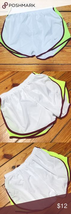 Nike Shorts in White, Maroon + Fluorescent Yellow Nike Shorts in White, Maroon + Fluorescent Yellow // size large // EUC Nike Shorts
