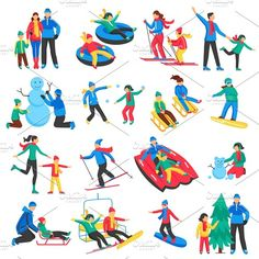 Buy Family Winter Sports Icons Set by macrovector on GraphicRiver. Family winter sports icons set with adults and children skiing skating making snowman flat isolated vector illustrati. Winter Activities For Kids, Winter Crafts For Kids, Winter Kids, Winter Sports, Kid Activities, Kids Fun, Illustration Plate, Business Illustration, Olympic Crafts