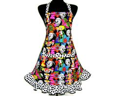 Retro Skeleton Apron  Mexican Bride and Groom  Día by ElsiesFlat, $36.00