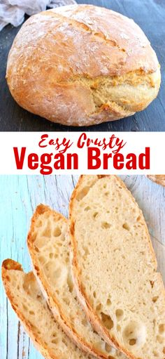 Easy, crusty vegan bread made with only 3 ingredients: flour, water and instant yeast. Easy Vegan Bread Recipe, Bread Recipes, Baking Recipes, Whole Food Recipes, Keto Recipes, Vegan Foods, Vegan Vegetarian, Vegetarian Recipes, Vegetarian Appetizers