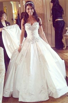 Modern Sweetheart Sleeveless Wedding Dress Spaghetti Strap With Beadings_High Quality Wedding & Evening Prom Dresses at Factory Price-27DRESS.COM