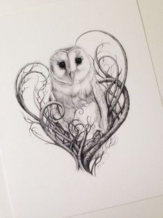 Barn Owl Print, Owl Art, Owl Print, Limited Edition Giclée Print, Pencil Drawn Owl Art For The Home Schleiereule Drucken Eulen Digitaldruck in von Lunarianart Love Tattoos, Beautiful Tattoos, New Tattoos, Body Art Tattoos, Tatoos, Circle Tattoos, Incredible Tattoos, Anchor Tattoos, Owl Tattoo Design