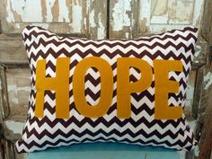 brown chevron HOPE pillow with insert by bumbletees on Etsy