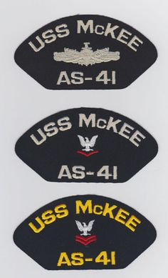 USS McKEE AS-41 - 2  These original hat patch is for sale for $2.00 ea including s & h.  Contact ussforrestalcva59@gmail.com