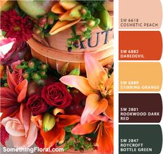 Peach, terracotta orange, gold, burnt sienna brown, and deep green, autumn color palette.