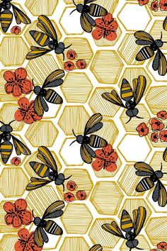 Honey Bee Hexagon by tiffanyheiger - Hand drawn honey bees on fabric, wallpaper, and gift wrap. Geometric honey pods in vintage tones with orange flowers. wallpaper Colorful fabrics digitally printed by Spoonflower - Honey Bee Hexagon Large Phone Backgrounds, Wallpaper Backgrounds, Iphone Wallpaper, Trendy Wallpaper, Wallpaper Quotes, Wallpaper Ideas, Geometric Wallpaper, Colorful Wallpaper, Sea Wallpaper