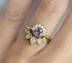 DISCOUNTED price for set of 2 rings. This listing is for dusty pink sapphire ring + leaf diamond matching band available in 14k yellow gold. IF YOU WANT A CUSTOM ring please contact me before purchase. Product details: - 14k yellow gold - 5.3mm dusty pink sapphire - diamond total carat
