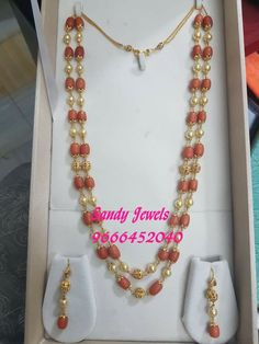 Gold coral pearl set necklace earrings