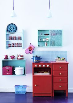 play kitchen, small set of drawers next to it