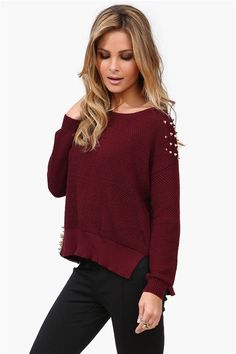 Spiked Knit in Burgundy
