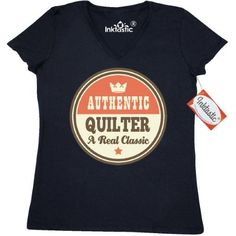 Inktastic Quilter Vintage Classic Women's V-Neck T-Shirt Quilting Gift Authentic Quilts Sewing Crafts Hobbies Hobby Clothing Apparel Tees Adult Hws, Size: Small, Black