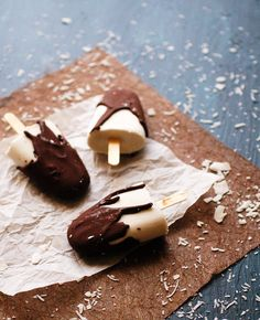 Chocolate covered coconut popsicle