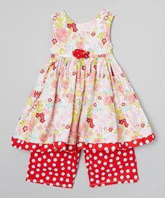 Loving this Carolina Kids Cherry Dress & Polka Dot Capri Pants - Infant, Toddler & Girls on #zulily! #zulilyfinds