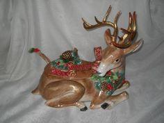 vintage+christmas+soup+tureens | RARE Fitz and Floyd Holiday Pine Deer Tureen Autumn Huge | eBay