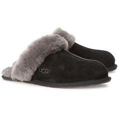 Womens Sleepwear UGG Scuffette II Black Suede Slippers ($93) ❤ liked on Polyvore featuring shoes, slippers and lingerie