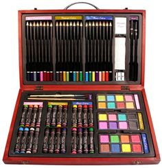 79 Piece Studio Art & Craft Supplies Set in Wood Box -Great Gift for Drawing and Painting