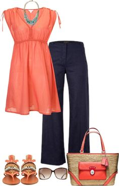 A fashion look from March 2013 featuring v-neck shirt, flats sandals and purse tote. Browse and shop related looks. Pretty Outfits, Beautiful Outfits, Cool Outfits, Casual Outfits, Fashion Outfits, Casual Pants, Love Fashion, Spring Fashion, Fashion Design
