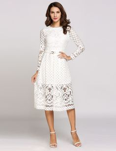 White Long Sleeve Round Collar Hollow Out Lace Solid Going Dress