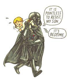 Star Wars, Darth Vader and son Luke at Bedtime. Star Wars Witze, Star Wars Jokes, Star Wars Comics, Star Wars Girls, Darth Vader And Son, Darth Maul, Teen Memes, Anakin And Padme, Han And Leia