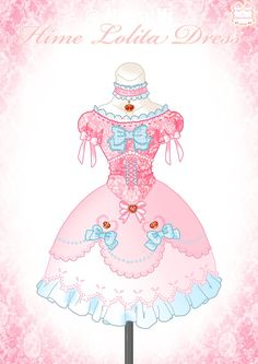 Hime Lolita Dress by Neko-Vi on DeviantArt Pink Outfits, Anime Outfits, Kawaii Fashion, Lolita Fashion, Mery Chrismas, Anime Dress, Dress Drawing, Clothes Pictures, Doll Repaint