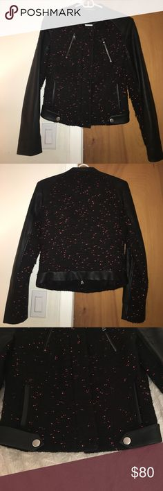 """Express wool and faux leather Moto Jacket Black wool blend moto jacket with leather arms and detail. Pink is woven into the body of the jacket. Fits like a """"boyfriend"""" style jacket. Paired with distressed black boyfriend jeans with heels makes this a fun outfit for a night out. Express Jackets & Coats"""