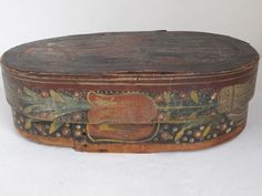 Antique Folk Art Pennsylvania Dutch Handpainted Angel Bride's Box c.1800 #FolkArtPrimitive