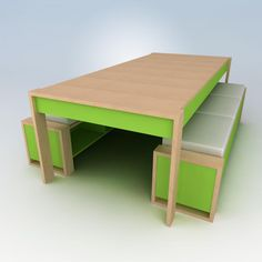 An awesome kids table that includes seating and storage!