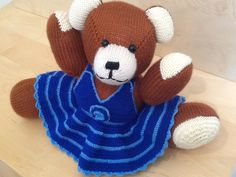 Terracotta Berd Bear, Blue Crocheted Dress