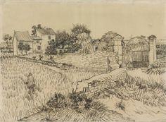 Vincent van Gogh - Farmhouse in Provence, 1888 (Rijksmuseum - Amsterdam) at Van Gogh Repetitions Exhibit - Phillips Collection Art Gallery Washington DC (Catalog Book) Vincent Van Gogh, Art Van, Landscape Sketch, Landscape Drawings, Life Drawing, Drawing Sketches, Sketch Ink, Van Gogh Zeichnungen, Desenhos Van Gogh