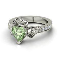 green claddagh irish ring | Heart Green Amethyst Platinum Ring with Diamond | King Claddagh Ring ...