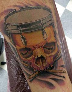 skull drum tattoo - Google Search