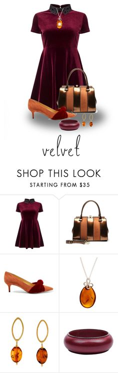 """Velvet Must Have"" by shamrockclover ❤ liked on Polyvore featuring Miss Selfridge, MKF Collection, Alexandre Birman, Be-Jewelled and Hermès"