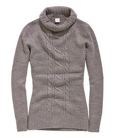 Look at this #zulilyfind! Dark Gray Cable-Knit Wool-Blend Turtleneck Sweater #zulilyfinds