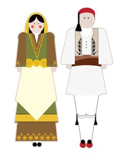illustrations based on the traditional garments of Greece.Goal of the project is to present each regional costume in a modern way using basic shapes but close to the originals forms, colors and patterns. Traditional Fashion, Basic Shapes, I Got This, Puppets, Diy And Crafts, Victorian, Textiles, Costumes, Activities