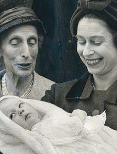 Edwina Hicks, 1st child of Lady Pamela Hicks, nee Mountbatten, and husband David Hicks.  Edwina was named after her maternal grandmother, Countess Edwina Mountbatten.  She is being held here by her godmother, Queen Elizabeth II, who looks quite happy with her new godchild. (The elderly lady looks like Queen Louise of Sweden, sister to Lord Mountbatten, aunt to Lady Pamela, and great-aunt to Edwina.)
