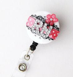 Custom RN Pink Blossom Bling  Designer Name Badge by BadgeBlooms, $18.00  Different initials available