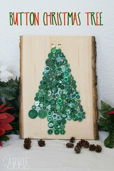 If you're looking for simple crafts for kids this Christmas, look no further - your kids will LOVE this fun Button Christmas Tree! Christmas Trees For Kids, Christmas Home, Christmas Decorations, Christmas Ornaments, Easy Crafts For Kids, Simple Crafts, Button Tree, Holiday Crafts, Holiday Decor