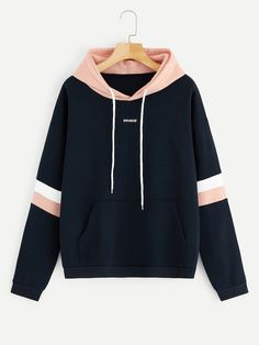 To find out about the Letter Embroidered Contrast Striped Hoodie at SHEIN, part of our latest Sweatshirts ready to shop online today! Teen Fashion Outfits, Fashion Mode, Korean Fashion, Cool Outfits, Casual Outfits, Fashion News, Style Fashion, Casual Dresses, Trendy Hoodies