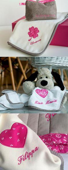 Schmusetuch für Babys aus Baumwolle und personalisierter Bestickung