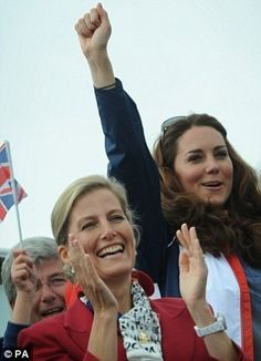 Sophie Rhys-Jones, Countess of Wessex and Catherine, Duchess of Cambridge celebrate as Paralympic GB's LTA mixed coxed four win a gold medal during the rowing finals on day 4 of the London 2012 Paralympic Games at Eton Dorney on September 2, 2012 in Windsor, England.