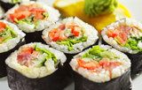 Sushi can be a great way to get nutrients, but some rolls are loaded with calories, simple carbs, and sodium. Learn which menu items are healthy and which aren't. I love sushi so this is good to know! Paleo Sushi, Veggie Sushi, Sushi Sushi, Sushi Time, Diet And Nutrition, Chicken Sushi, Teriyaki Chicken, Food Porn, Homemade Sushi