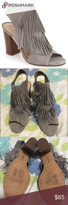 """🎉PRICE DROP🎉Sam Edelman """"Elaine"""" Fringe Sandal 🎉PRICE DROP FOR TODAY ONLY🎉Tiered fringe adds a dramatic Western flourish to an open toe sandal shaped from lush suede and set on a lofty size heel. 3 1/2"""" heel. Runs large. Never been used. Like brand new. ❌No Trades❌ 💟Reasonable offers welcome💟 Sam Edelman Shoes Sandals"""