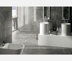 Buy Impact Grey Slate Effect Porcelain Tile from Tons of Tiles with Next Day UK Delivery, Samples Available from only inc P&P. Slate Effect Tiles, Wall And Floor Tiles, Basement Bathroom, Open Plan Living, Interior Exterior, Grey Walls, Living Spaces, Bathtub, Flooring