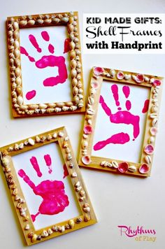 Kid-Made Gifts: Shell frames with handprint. Children from toddlers to teens can make these beautiful keepsake gifts for Mother's Day, Father's Day, Christmas, Birthday's or any other special occasion! The frames can be filled with handprints, footprints, photo's or artwork. Gift Ideas | DIY Gifts