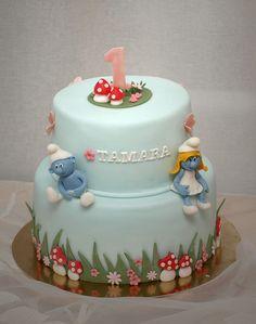 Risultati immagini per easy smurf cake Sweet Cakes, Cute Cakes, Pretty Cakes, Beautiful Cakes, Fondant Cakes, Cupcake Cakes, Fairy Cakes, Character Cakes, Love Cake
