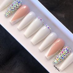 The Perfect Manicure that's applied in Seconds. Custom Press On Nails Bling Acrylic Nails, Simple Acrylic Nails, Best Acrylic Nails, Colored Acrylic Nails, Stick On Nails, Glue On Nails, Stylish Nails, Trendy Nails, Pedicure Nails